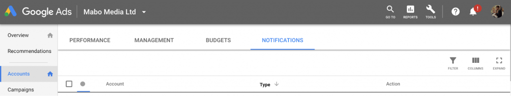 New Google Ads Interface Account Notifications