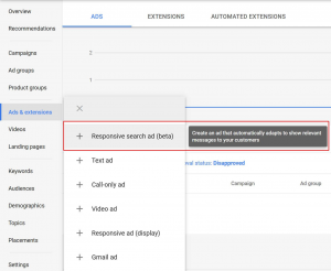 Responsive text ads in the new Google Ads interface