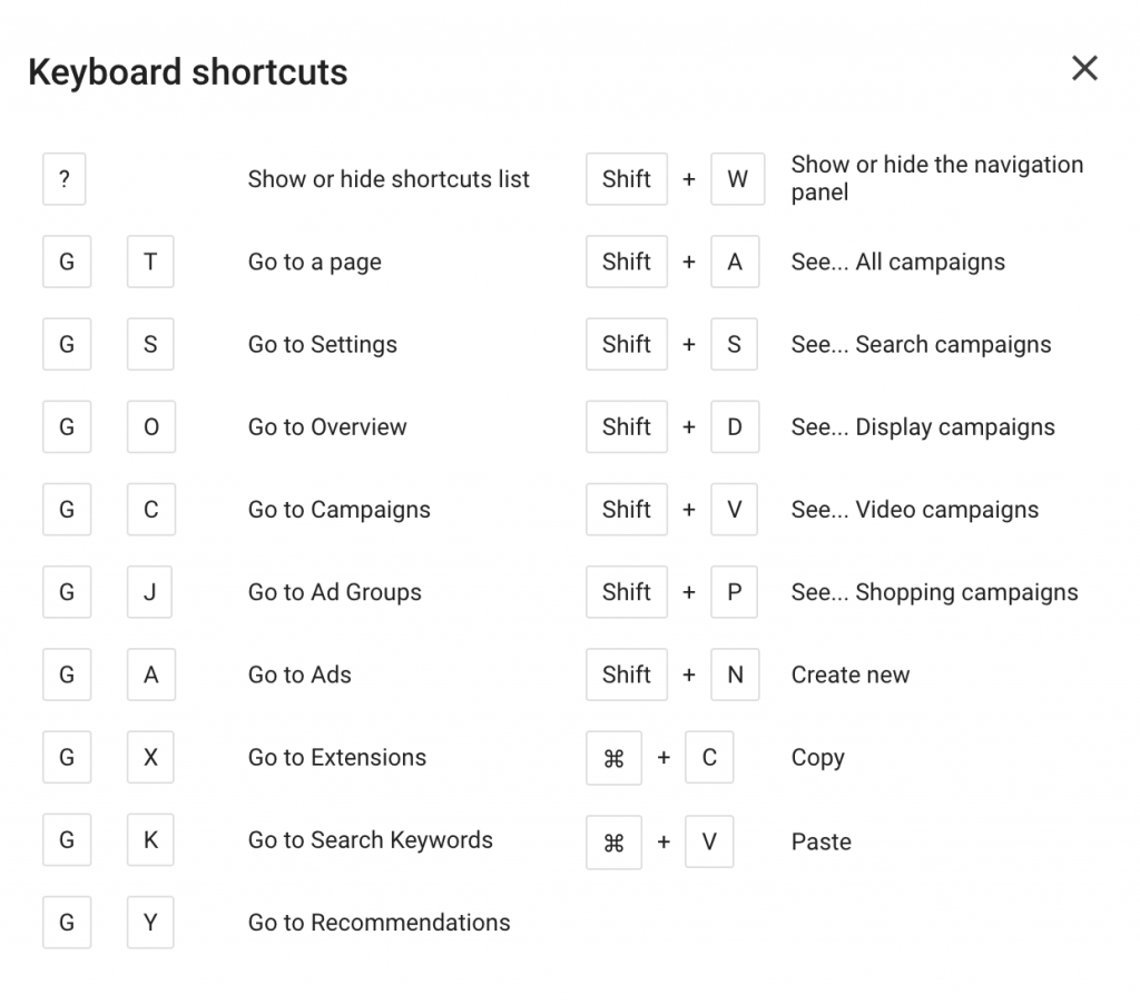 New Google Ads Interface Keyboard Shortcuts