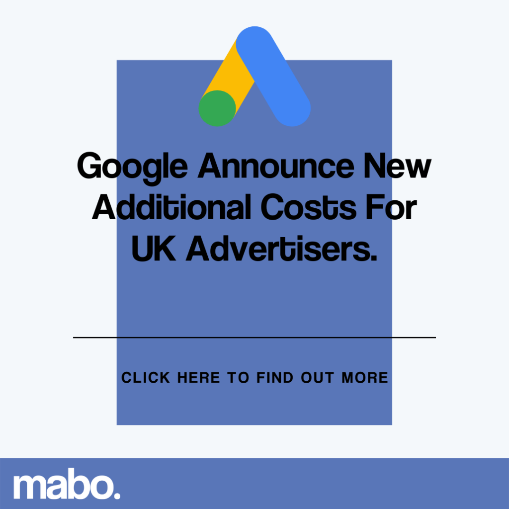 Google announce additional costs for UK advertisers
